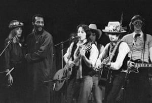 Joni Mitchell, Richie Havens, Joan Baez, and Bob Dylan