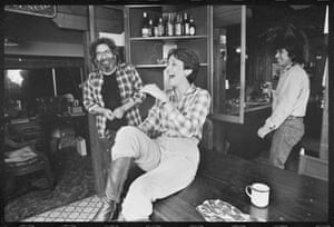 Joan Baez shares a joke with Jerry Garcia at the Grateful Dead leader's California home in 1981