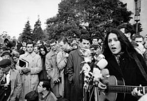 Joan Baez performs at a rally for the Free Speech Movement at the University of California at Berkeley in 1964