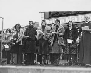 Joan Baez and Northern Irish peace activists during the Ulster Peace Rally in Trafalgar Square, London, 27 November, 1976
