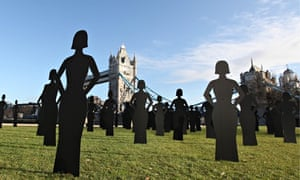 Silhouettes representing women killed due to domestic violence