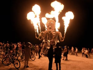 Organizers call Burning Man the largest outdoor arts festival in North America, with its drum circles, decorated art cars, guerrilla theatrics and colorful theme camps.