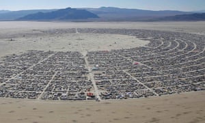 An aerial view of the festival and camps.