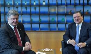 Petro Poroshenko and Jose Manuel Barroso meet in Brussels
