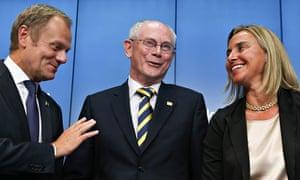 EU leaders Rompuy, Tusk and Mogherini