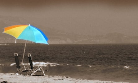 beach umbrella autumn