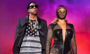 Beyonce and Jay Z performing during the On the Run tour in 2014.
