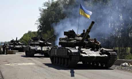 Ukrainian troops patrol in the Donetsk region
