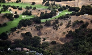 This picture taken from a helicopter shows a drought affected area near Los Altos Hills, California, on July 23, 2014. One of California's worst droughts in decades could cost the US state's farmers $1.7 billion, a recent study warned.