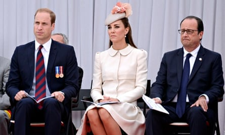 Duke and Duchess of Cambridge with French president François Hollande at first world war ceremony