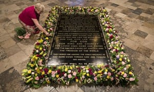Grave of the Unknown Warrior is prepared for first world war candlelit vigil at Westminster Abbey