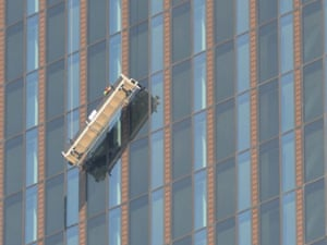 Two window cleaners were trapped 144 metres from the ground on the 48 floor in their platform at the front of the 'DC-Tower,' Austria's highest skyscraper, in Vienna.