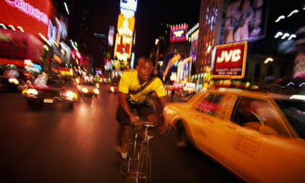 A bike messenger in New York, taking daily risks to get the job done.