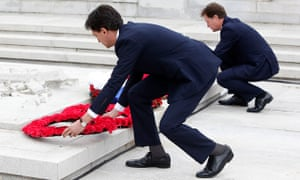 Lib Dem and Labour leaders Nick Clegg and Ed Miliband lay their wreaths at the cenotaph in Glasgow