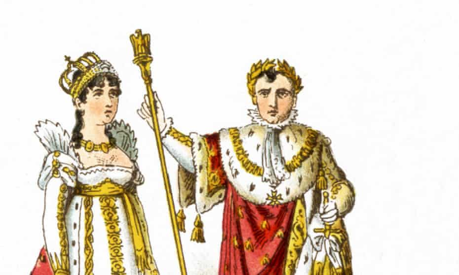 The illustration (1882) of French Empress Josephine and Napoleon I in their coronation robes in 1804.