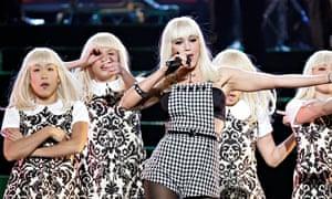 Gwen Stefani performs with her Harajuku girls.
