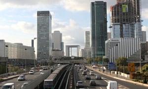 A view of the La Défense district in Paris, with La Grande Arche in the centre