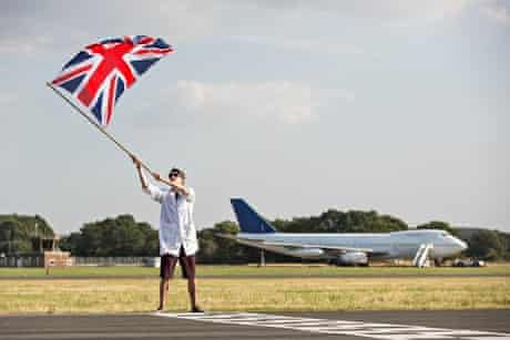 Getting the go-ahead from a man with a union jack.