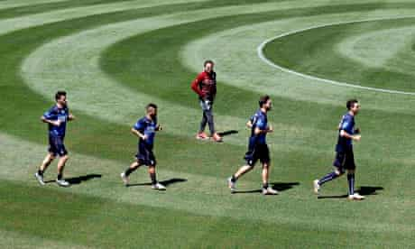 Italyian football players being coached