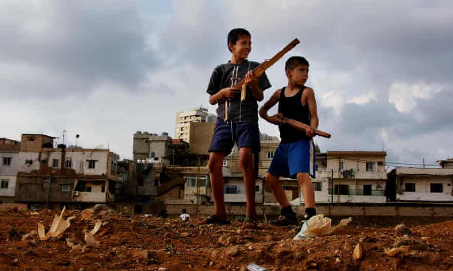 Palestinian children from the Mar Eias Batina refugee camp in Beirut, Lebanon.