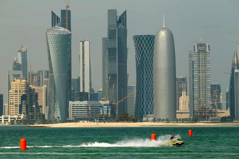 A jet ski race in Doha, Qatar.