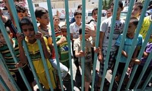 Palestinian children at a UN school in Rafah, southern Gaza