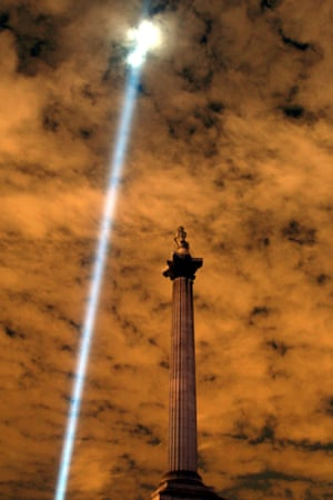 The lights go out on Nelson column in Trafalgar Square
