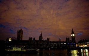 The houses of parliament in London after the lights have been turned off