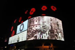 Piccadilly's advertising signs pay tribute to the fallen in World War 1 on the centenary of Britain's entry into the war.