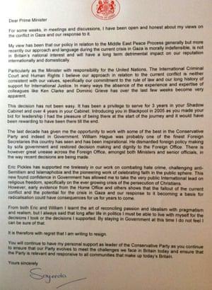 Lady Warsi resignation letter