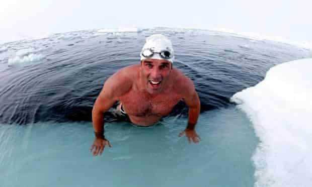 British explorer and endurance swimmer, Lewis Gordon Pugh successfully completes the challenge of being the first man to swim in the waters of the North Pole, in 2007