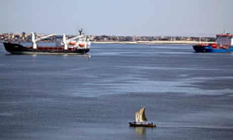 The Suez canal near Ismailia, Egypt
