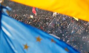 Pro-European protesters at Maidan square in Ukraine.