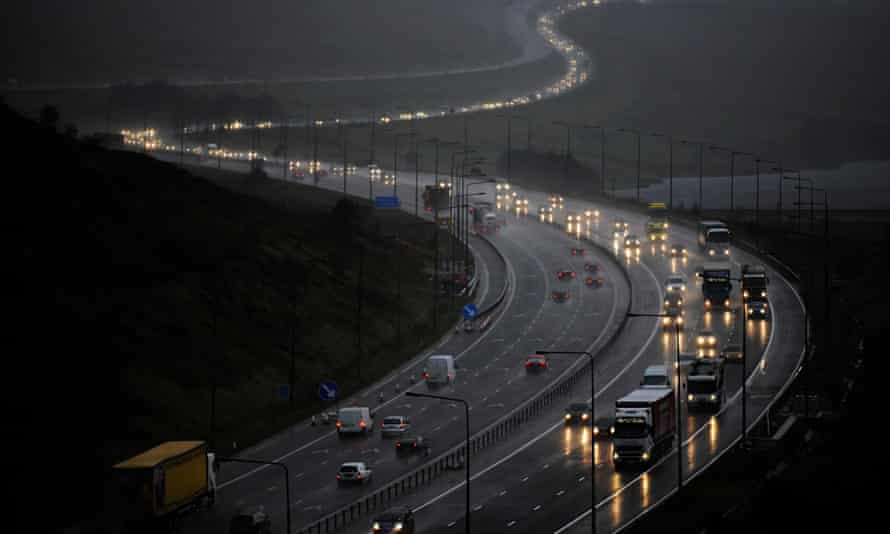 Traffic on the M62 in West Yorkshire on the border with Greater Manchester