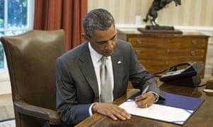 US President Barack Obama signs House Jo