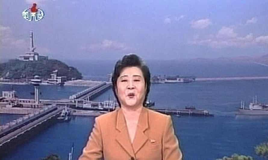 A North Korea newsreader announces a nuclear text in 2006. Television is in the isolated state is strictly limited to state-run domestic programming.