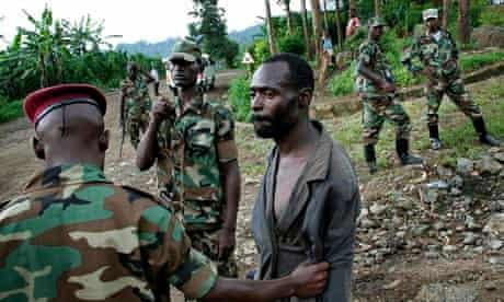 A man suspected of being an FDLR fighter is detained near Goma in eastern DRC