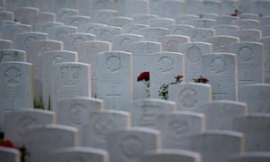 Headstones mark the graves of first world war soldiers in Belgium