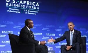 President Barack Obama with Takunda Ralph Michael Chingonzo of Zimbabwe.