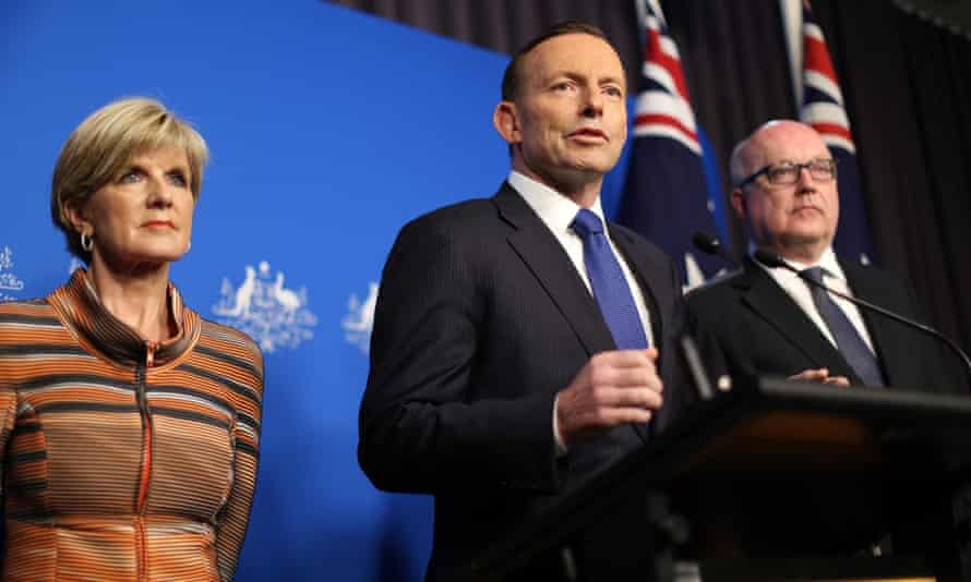 Tony Abbott speaking at a joint press conference with foreign minister Julie Bishop and attorney general George Brandis on Tuesday announcing the new anti-terrorism measures.