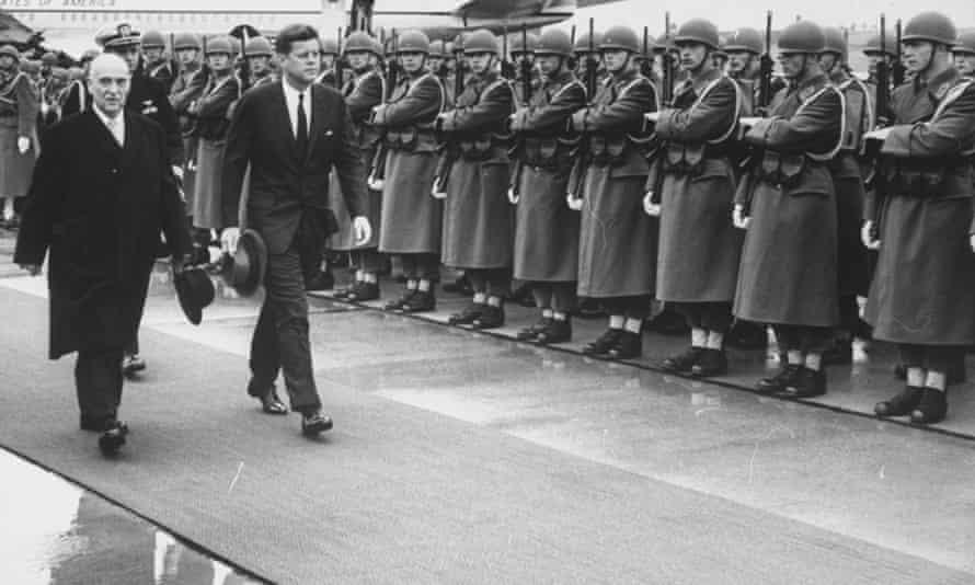 John F. Kennedy arriving in the USSR for talks with Nikita Khrushchev.