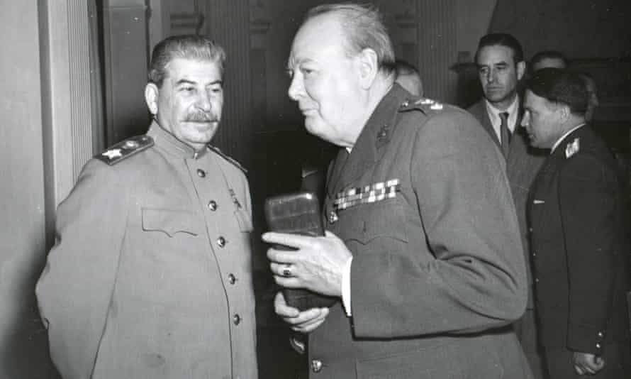 Joseph Stalin and Winston Churchill at the Yalta Conference in 1945
