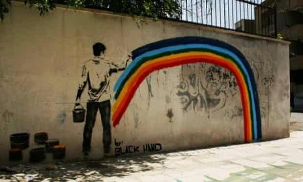 A street graffiti by the Iranian artist Black Hand