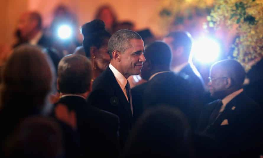 Barack Obama arrives at a dinner for the US-Africa leaders summit at the White House.