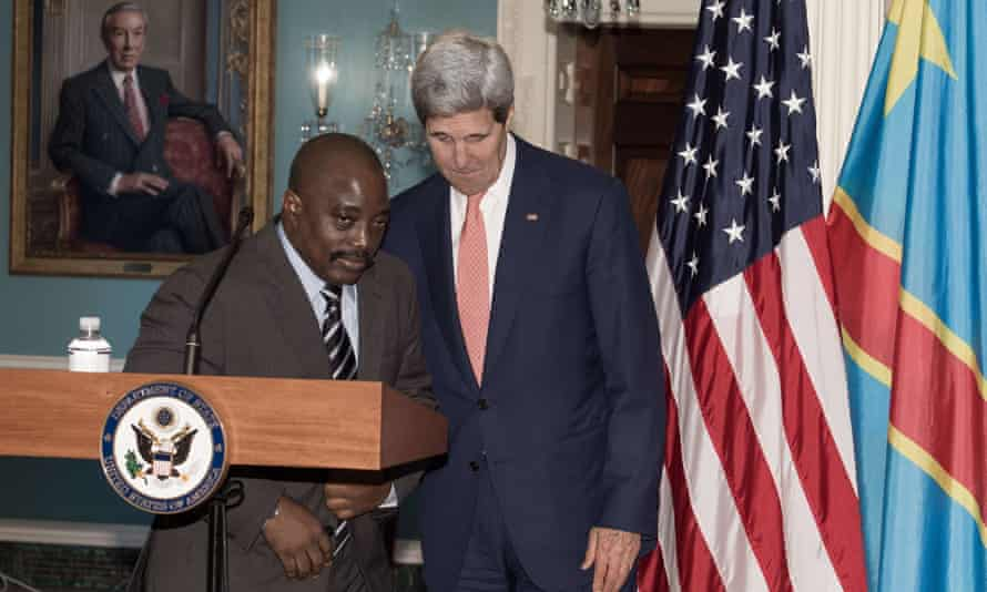 DRC president Joseph Kabila and US secretary of state John Kerry after their private bilateral meeting in Washington.