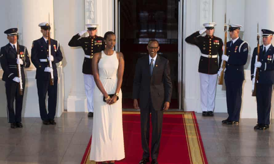 Rwandan president Paul Kagame and his daughter Ange Kagame arrive at the White House for a state dinner.