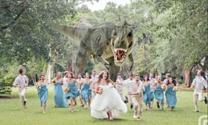 Dinosaur wedding photo