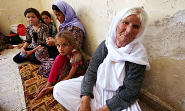 An Iraqi Yazidi family that fled the violence in Sinjar