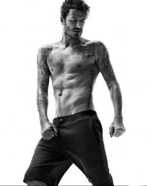 David Beckham in cut-off jogging bottoms