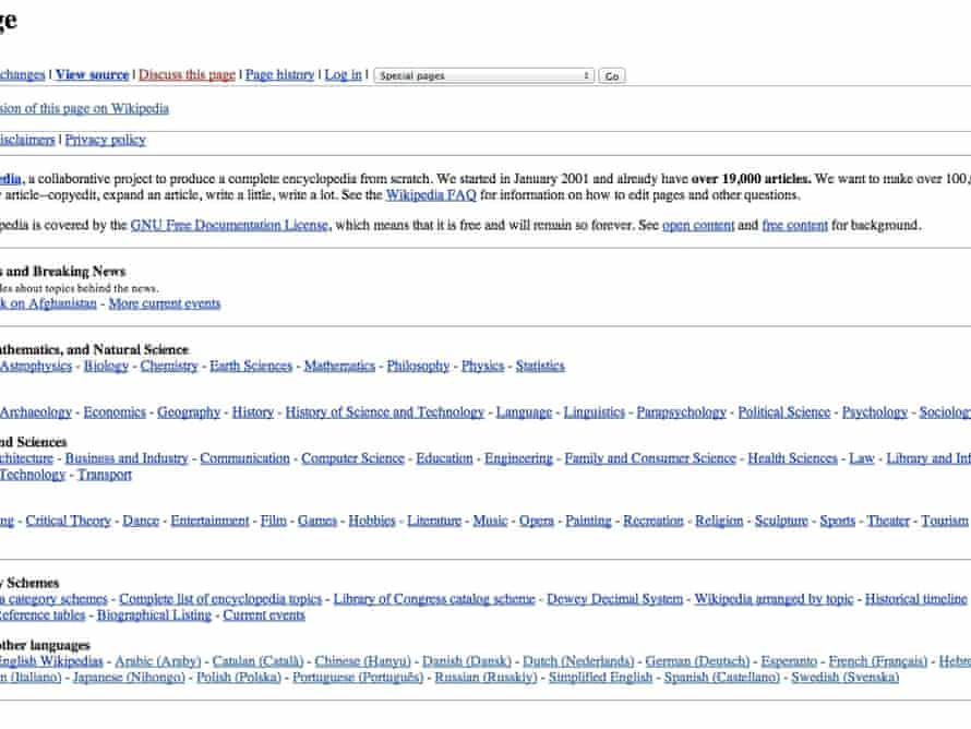 A very early Wikipedia homepage from 2001.